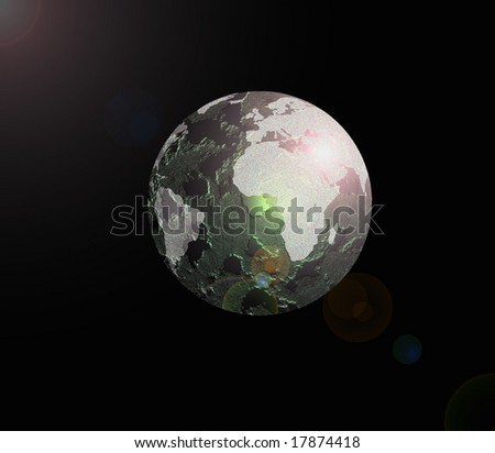Green light with white Earth Globe - stock photo