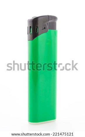 Green lighter isolated on white background