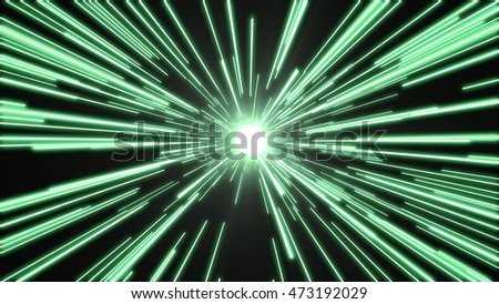 Green lights flying past at high speed, with a bright white light at the end of the tunnel.