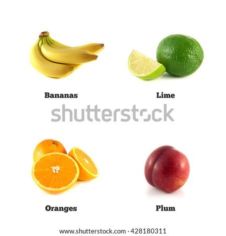 Green lime, banana and plum. Sliced orange isolated. Fresh natural banana. Health organic banana. Object on white background. Beautiful tasty banana. - stock photo