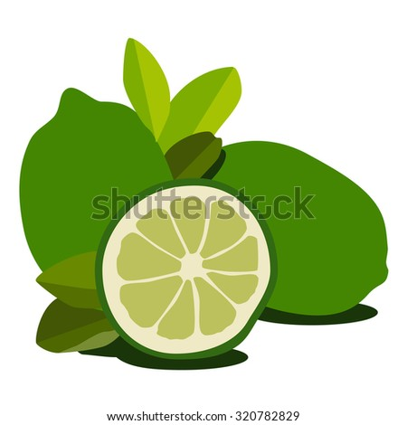 Green lime fresh fruit raster isolated. Juicy citrus, tropical fruit - stock photo