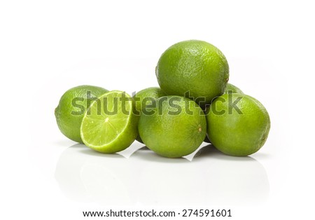 Green lime isolated on white background - stock photo