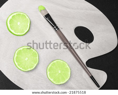 green lime on color palette - stock photo