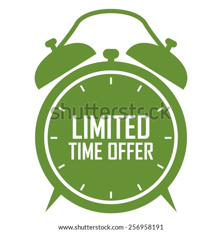 green limited time offer on alarm clock sticker, badge, icon, stamp, label, banner, sign isolated on white - stock photo