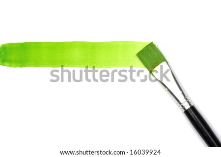 Green line and brush over white - stock photo