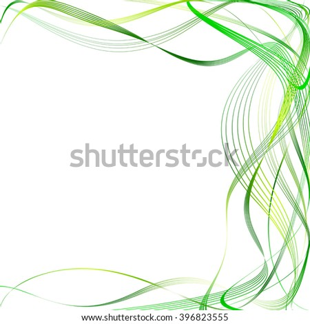 Green Lines and Emerald Waves. Raster Illustration
