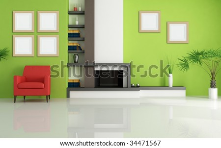 green living room with modern fireplace and red armchair - rendering - stock photo