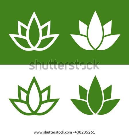 Green Lotus Plant Icon Set Logo. Illustration - stock photo