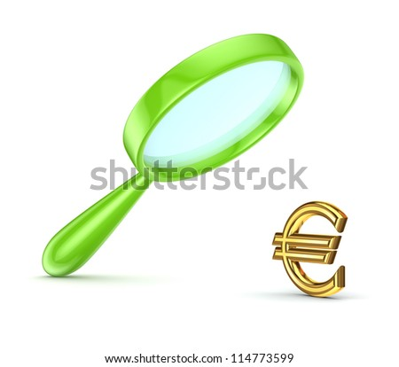 Green loupe and euro symbol.Isolated on white background.3d rendered. - stock photo