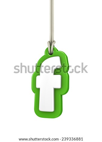 Green lowercase letter F hanging on rope with clipping path - stock photo