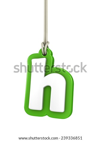 Green lowercase letter H hanging on rope with clipping path - stock photo