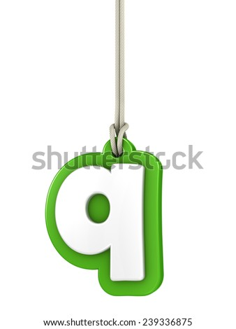 Green lowercase letter Q hanging on rope with clipping path - stock photo