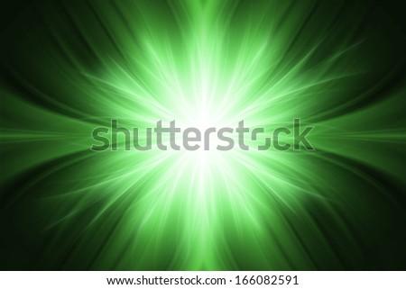 Green luminous rays background - stock photo