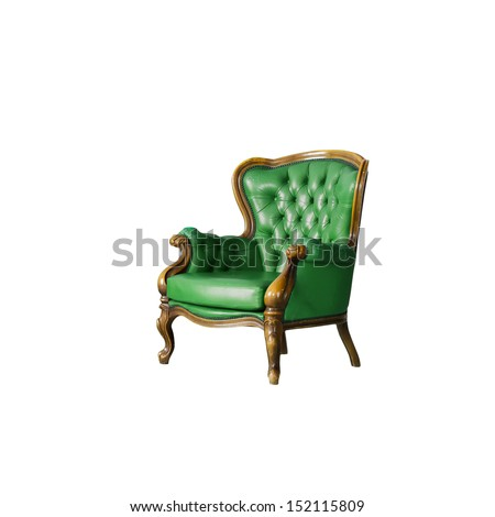 green Luxurious armchair in white room - stock photo