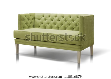 Green Luxurious sofa isolated on white background,front view. - stock photo