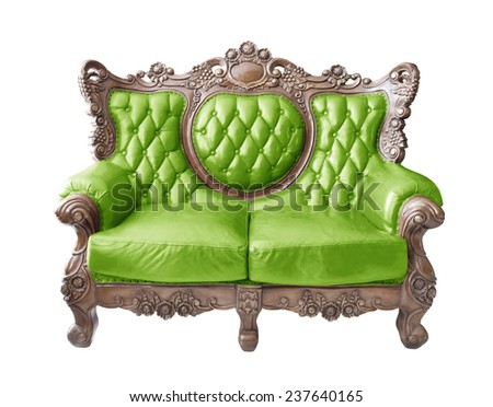 Green luxurious sofa on white background. clipping path. - stock photo