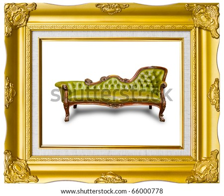 green luxury leather armchair in golden wood photo image frame isolated - stock photo