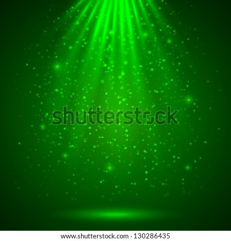 Green magic light abstract background. Raster illustration. Vector version also exist. - stock photo