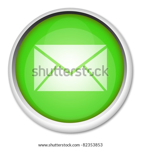 Green mail button isolated on white - stock photo