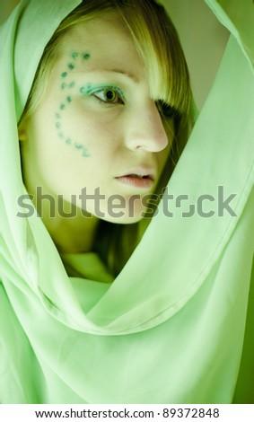 Green make-up - stock photo