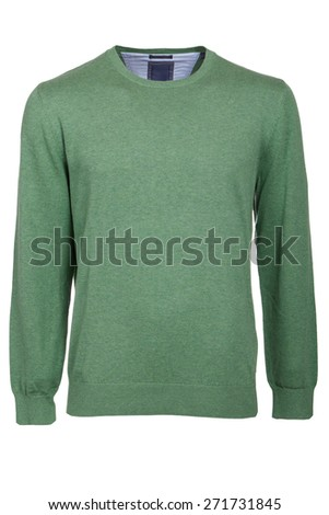 green male sweater isolated - stock photo