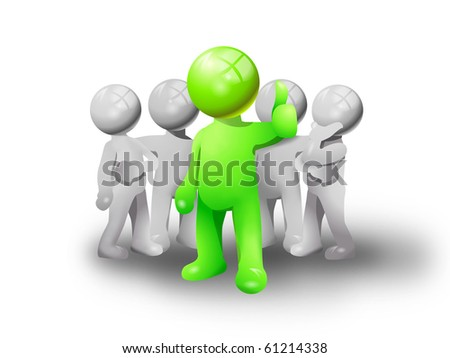Green man group of five persons.  one is the leader