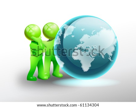 green man persons observe a shiny globe; preserve our universe concept