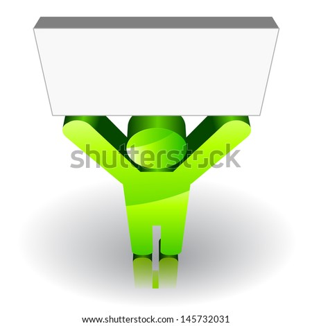 Green man sign keeping up a blank signboard. Raster version. Vector is also available in my gallery - stock photo