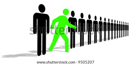Green Man Standing Out In A Line Of Black Men - stock photo
