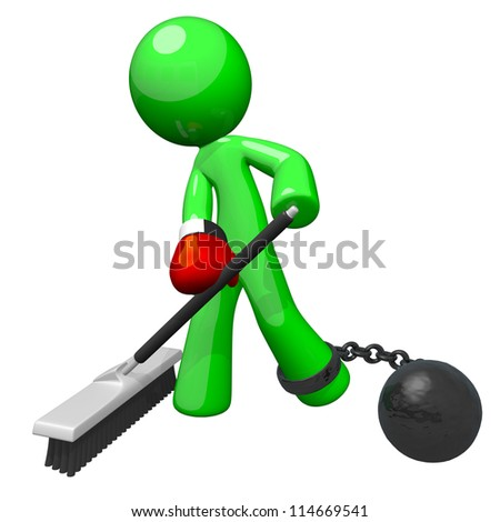 Green man with a boxing glove and ball and chain, sweeping the floor. A good concept for substandard working conditions and employee dissatisfaction. - stock photo