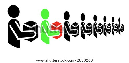 Green Man With Red Box Standing In A Line Of Black Men, Illustration, Background - stock photo