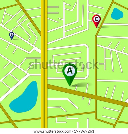 Green map background with color gps