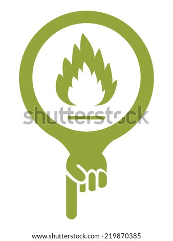 Green Map Pointer Icon With Fireplace or Fire Alarm Sign Isolated on White Background  - stock photo