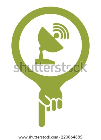 Green Map Pointer Icon With Satellite Station and Satellite Dish Service Sign Isolated on White Background  - stock photo