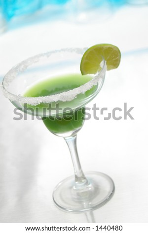 Green margarita in a traditional glass. - stock photo