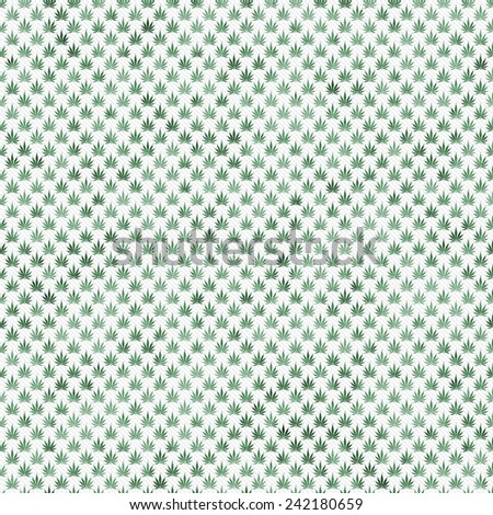 Green Marijuana Leaf Pattern Repeat Background that is seamless and repeats - stock photo