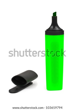 Green marker and cap isolated on white background