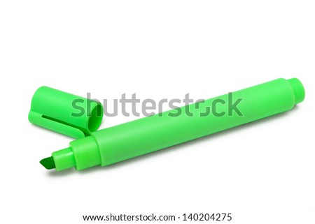 Green marker with cap isolated on white background