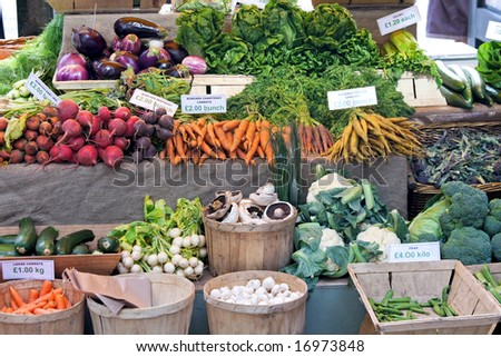 Green market place with lot of vegetables - stock photo