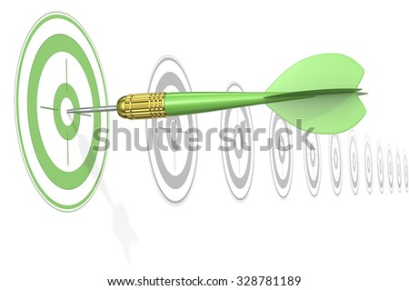 Green marketing concept. Dart Arrow hitting center of Green target. Horizontal row of gray targets.