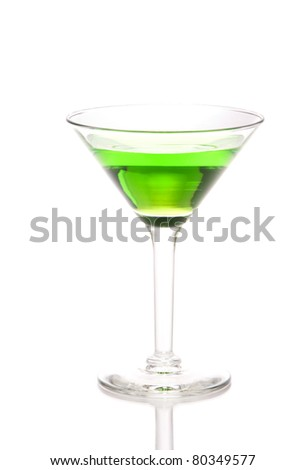 Green martini Cocktail drink with light rum, lime juice, club soda and syrup in cocktails martinis glass isolated on a white background