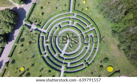 Green Maze Garden Aerial View Stock Photo (Download Now) 639791557 on