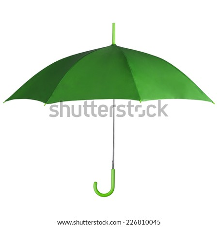 Green mbrella isolated on white background - stock photo