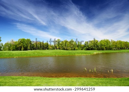 Green meadow and calm river. Blue sky with clouds above the trees. Tranquil summer landscape