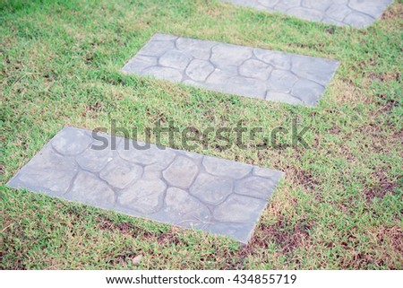 Green meadow divided by rough stone walkway,Stamped concrete, Concrete walkway on the lawn, Pathway formed slabs concrete in a garden with lush green grass on either side.Selective Focus - stock photo