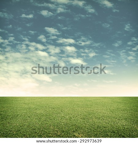 green meadow with cloud - stock photo