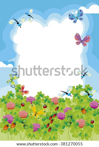 green meadow with insects, frame for greeting card with sky, grass and bugs. Field of green flowering clover - stock photo