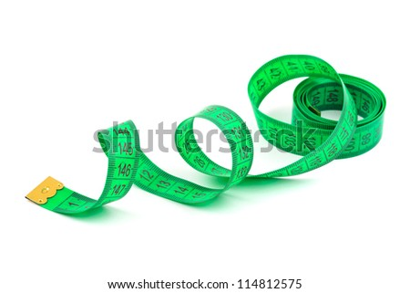 Green measuring tape isolated on white background - stock photo