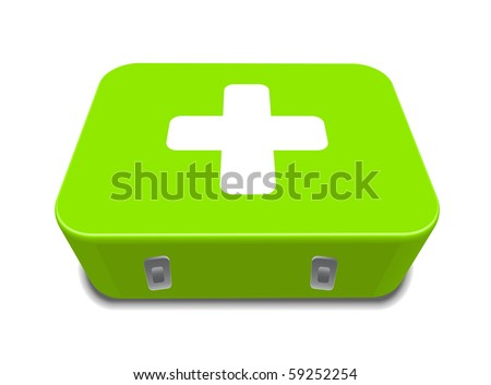 green medical first aid box kit sign isolated on white background