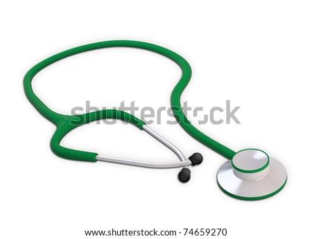 Green medical stetoscope - stock photo